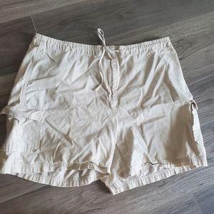 Khaki tie up shorts